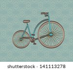 antique bicycle over vintage... | Shutterstock .eps vector #141113278