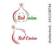 red onion vector logo. the logo ... | Shutterstock .eps vector #1411138766