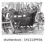 people throwing the tea into... | Shutterstock .eps vector #1411139936