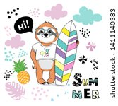 cute sloth with surfboard and...   Shutterstock .eps vector #1411140383