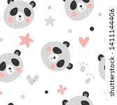 cute funny smiling panda.... | Shutterstock .eps vector #1411144406