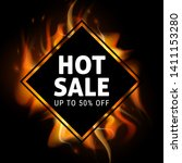 realistic fire flames hot sale...   Shutterstock .eps vector #1411153280