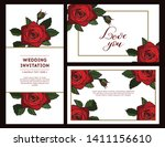 set of rose cards for your... | Shutterstock .eps vector #1411156610