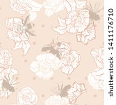 vector cream bees with roses on ... | Shutterstock .eps vector #1411176710