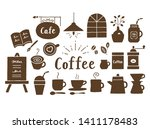 coffee and cafe icons brown...   Shutterstock .eps vector #1411178483