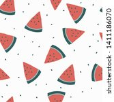 a simple pattern of watermelon. ... | Shutterstock .eps vector #1411186070