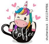 cute cartoon unicorn is sitting ... | Shutterstock .eps vector #1411194986