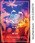 summer sale flyer or poster.... | Shutterstock .eps vector #1411204070