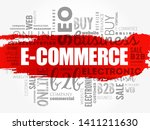 e commerce word cloud collage ... | Shutterstock .eps vector #1411211630