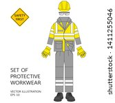 set of protective workwear.... | Shutterstock .eps vector #1411255046