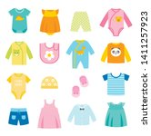 children clothes icons set.... | Shutterstock .eps vector #1411257923