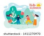 happy cartoon children play... | Shutterstock .eps vector #1411270970