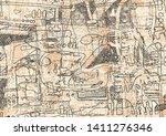 hand drawn graffiti abstract...   Shutterstock .eps vector #1411276346