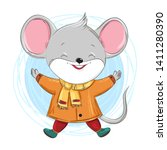 cute happy little mouse  hand... | Shutterstock .eps vector #1411280390