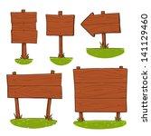 wooden signboard set | Shutterstock .eps vector #141129460