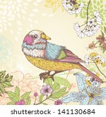 hand drawn birds and flowers | Shutterstock .eps vector #141130684