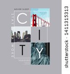 city slogan with city view and... | Shutterstock .eps vector #1411315313