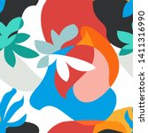 abstract tropical painting.... | Shutterstock .eps vector #1411316990