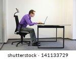 bad sitting posture at laptop ...   Shutterstock . vector #141133729