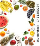 various  fruits  isolated on... | Shutterstock . vector #1411350299