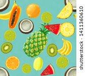 hand drawn seamless pattern... | Shutterstock . vector #1411360610