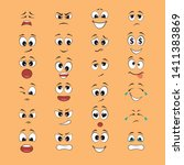 cartoon expressions with mouths ... | Shutterstock .eps vector #1411383869