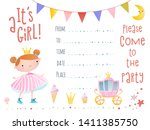 an invitation with a princess.    Shutterstock .eps vector #1411385750