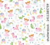 princesses  dragons and...   Shutterstock .eps vector #1411385759