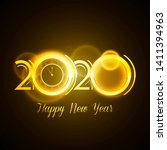 golden 2020 design with happy...   Shutterstock .eps vector #1411394963