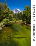 merced river with half dome in... | Shutterstock . vector #141141358
