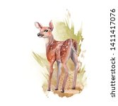 watercolor forest animal.... | Shutterstock . vector #1411417076