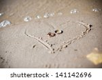 Wedding Rings Lie On The Sand...