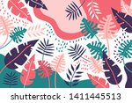 summer exotic floral tropical... | Shutterstock .eps vector #1411445513