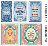 set of 5 labels. western style | Shutterstock .eps vector #1411458956