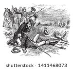 Death of General Joseph Warren an American physician ,vintage line drawing or engraving illustration.