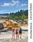 family on summer hiking... | Shutterstock . vector #1411470563