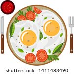 fried eggs with tomatoes and... | Shutterstock .eps vector #1411483490