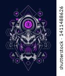 devil mask with sacred geometry ... | Shutterstock .eps vector #1411488626