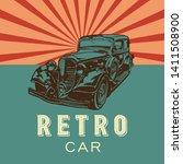 retro car. vector poster.... | Shutterstock .eps vector #1411508900