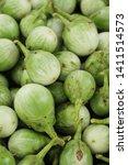 fresh eggplant green organic at ...   Shutterstock . vector #1411514573