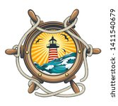 ship wheel with lighthouse and... | Shutterstock .eps vector #1411540679