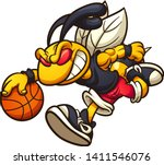 hornet mascot running and... | Shutterstock .eps vector #1411546076