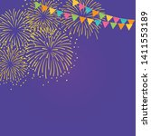 gold fireworks and colorful... | Shutterstock .eps vector #1411553189