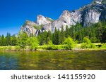beautiful landscape in yosemite ... | Shutterstock . vector #141155920