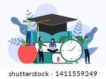 graduation cap  apple  clock... | Shutterstock .eps vector #1411559249