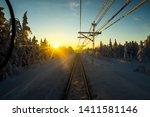 Railway In Winter Lapland Sweden