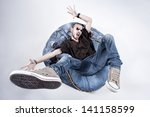 funny crazy man dressed in... | Shutterstock . vector #141158599