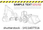 bulldozer and excavator. heavy... | Shutterstock .eps vector #1411607516