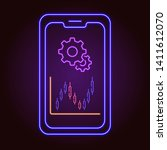 neon icon of smartphone with...
