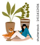 girl and wild tiger resting on...   Shutterstock . vector #1411612436